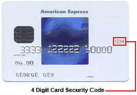 Location of code. The card security code is typically the last three or four digits printed, not embossed like the card number, on the signature strip on the back of the card. On American Express cards, the card security code is the four digits printed (not embossed) on the front towards the right.